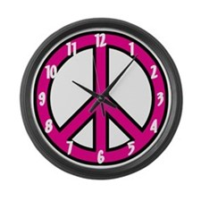 Pink Peace Sign Large Wall Clock
