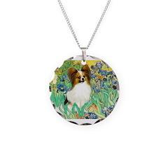 Irises / Papillon Necklace Circle Charm