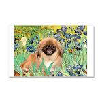 Irises / Pekingese(r&w) Car Magnet 20 x 12