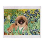 Irises / Pekingese(r&w) Throw Blanket