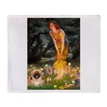 Fairies / Pekingese(r&w) Throw Blanket