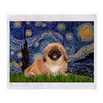 Starry / Pekingese(r&w) Throw Blanket