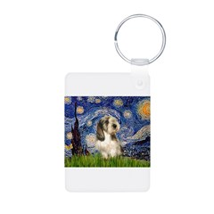 Starry Night / PBGV Aluminum Photo Keychain