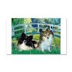 Bridge / 2 Pomeranians Car Magnet 20 x 12