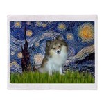 Starry Night /Pomeranian (p) Throw Blanket