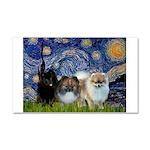 Starry/3 Pomeranians Car Magnet 20 x 12