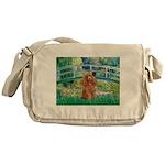 Lily Pond Bridge/Poodle (apri Messenger Bag