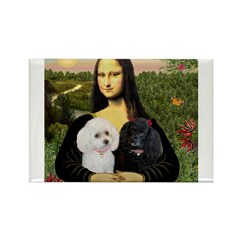 Mona & 2 Poodles Rectangle Magnet