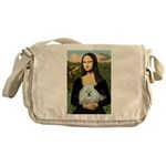 Mona Lisa/Poodle (white/toy) Messenger Bag