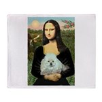 Mona Lisa/Poodle (white/toy) Throw Blanket