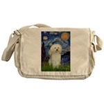 Starry / Poodle (White) Messenger Bag