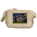 Starry Night / Poodle (s) Messenger Bag
