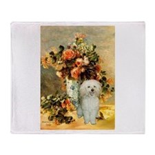 Vase / Poodle (White) Throw Blanket