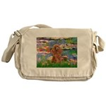 Lilies / Poodle (Apricot) Messenger Bag
