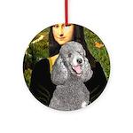 Mona Lia/Std Poodle (silver) Ornament (Round)