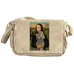 Mona Lia/Std Poodle (silver) Messenger Bag