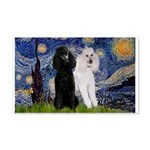 Starry Night / 2 Poodles(b&w) 20x12 Wall Decal