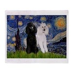 Starry Night / 2 Poodles(b&w) Throw Blanket