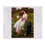 Windflowers / Poodle (BLk-ST) Throw Blanket