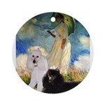Umbrella / 2 Poodles(b & w) Ornament (Round)