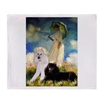 Umbrella / 2 Poodles(b & w) Throw Blanket