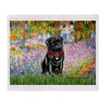 Garden / Black Pug Throw Blanket