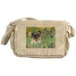 Irises / Pug Messenger Bag