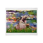 Lilies (#2)/Pug (#2) Throw Blanket