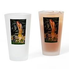 Fairies & Black Pug Drinking Glass