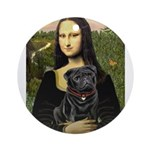 Mona's Black Pug Ornament (Round)