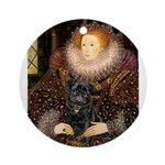 The Queen's Black Pug Ornament (Round)