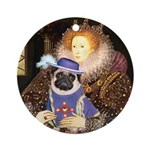 The Queen & Sir Pug Ornament (Round)