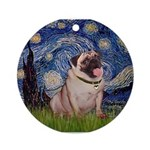 Starry Night and Pug Ornament (Round)