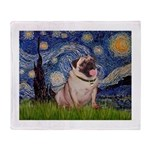 Starry Night and Pug Throw Blanket