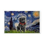Starry Night / Black Pug 20x12 Wall Decal