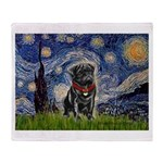 Starry Night / Black Pug Throw Blanket