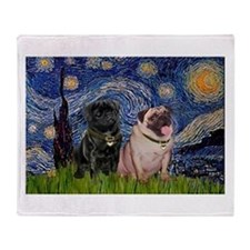 Starry Night / 2 Pugs Throw Blanket