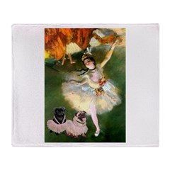 Dancer / 2 Pugs Throw Blanket