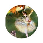 Dancer 1 & fawn Pug Ornament (Round)