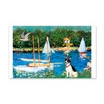 Sailboats / Rat Terrier 20x12 Wall Decal