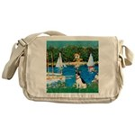 Sailboats / Rat Terrier Messenger Bag