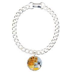 Sunflowers / Rat Terrier Charm Bracelet, One Charm