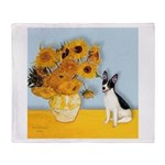 Sunflowers / Rat Terrier Throw Blanket