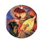 Mandolin Angel/Rottweiler Ornament (Round)