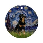 Starry Night Rottweiler Ornament (Round)