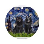 Starry Night & Schipperke Ornament (Round)