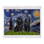Starry Night & Schipperke Throw Blanket