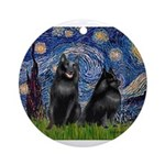 Starry / Schipperke Pair Ornament (Round)
