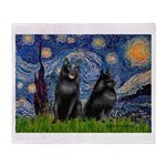 Starry / Schipperke Pair Throw Blanket