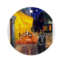 Cafe & Schipperke Ornament (Round)